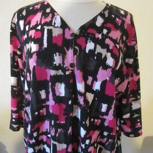 CJ Banks 1X pink black cardigan Sweater
